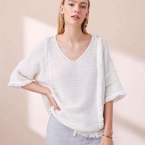Lou & Grey White Boho Fringe Top Size XS